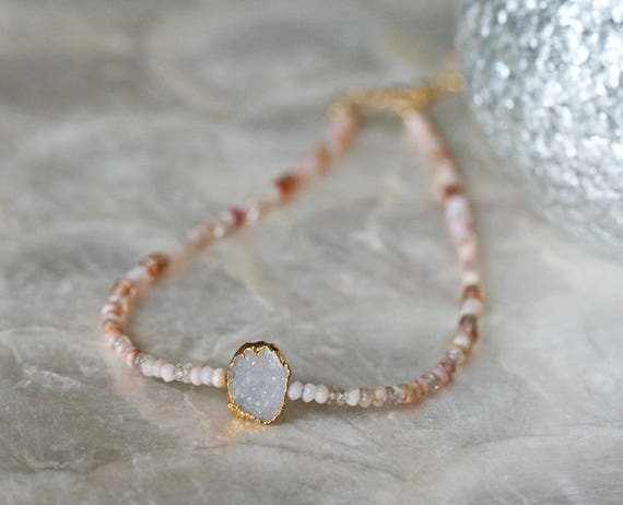 Druzy Choker with Pink Opal and Zicon
