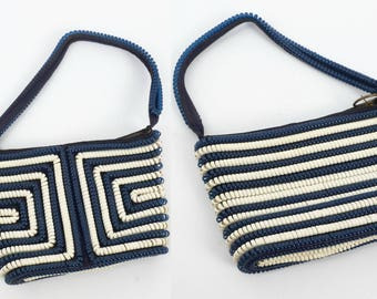 Vintage 40s Purse // 1940s Purse // Telephone Cord Purse // Navy Blue & White Cord Purse