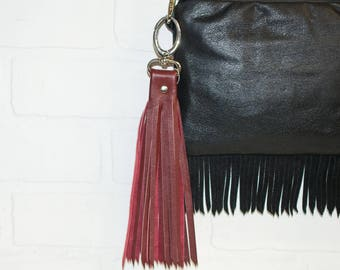 """10"""", red leather tassel, leather bag charm, recycled leather, leather fringe, tassel keychain, upcycled, red fringe, stacylynnc"""