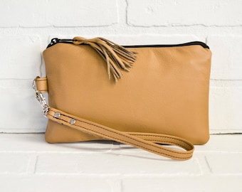 tan leather clutch, wrist clutch, wristlet, phone wallet, tan purse, make up bag, tan clutch, handmade, upcycled, repurposed, stacylynnc