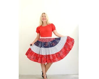 1970s Patriotic Country Floral Dress /// Size Extra Small to Small