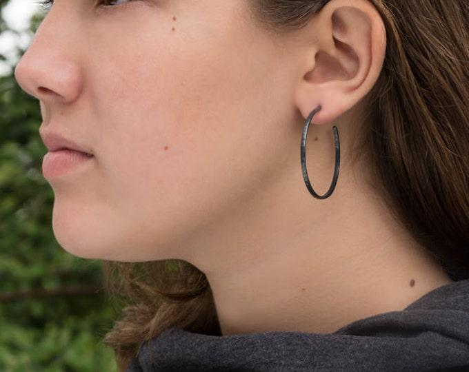 40mm, Narrow Sterling Silver Hoop Earrings