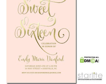Pink Gold Sweet 16 Invitation | Sweet Sixteen Party Invitation | Sweet 16 Invite | Printable Sweet 16 Invitation | Printed with Envelopes