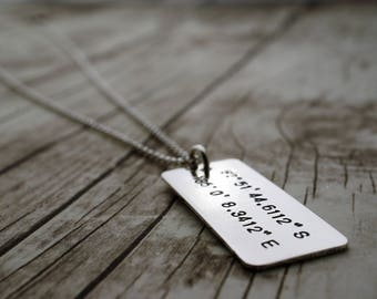 Latitude Longitude Custom Coordinates Necklace - Personalized Sterling Silver Jewelry w/ Custom Coordiantes by EWDjewelry