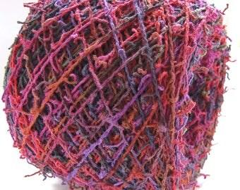 Hand Dyed Cotton Fingering Weight Yarn Art Yarn 304 Yards Fringe Shag Yarn - Tickle