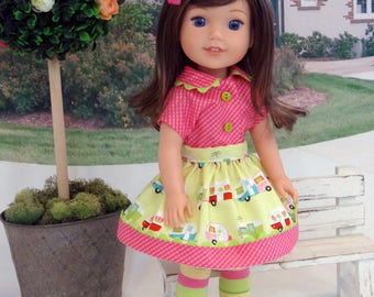 Happy Camper - Blouse, skirt, tights & shoes for Wellie Wisher doll