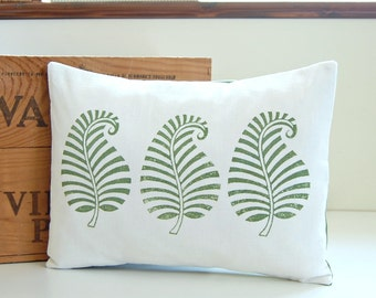 fern green block printed decorative pillow cover, one hand printed cushion cover 12 x 16 inch