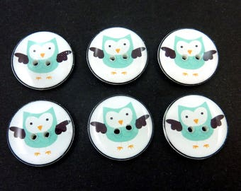 Blue Owl Buttons. Handmade Buttons for Knitting or Sewing.  Handmade Supplies.