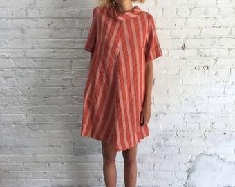 vintage 60s mod dusty rose tent dress / pink and orange stripe 1960s trapeze dress