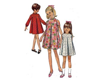 1960s Girls Dress Pattern Tent Dress Pie Wedge Pleat Short Long Sleeves Sleeveless High Collar Simplicity 7458 Size 7 Vintage Sewing Pattern