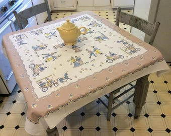 Vintage Broderie Tablecloth Gay 90s Happy Couples Skate & Bike