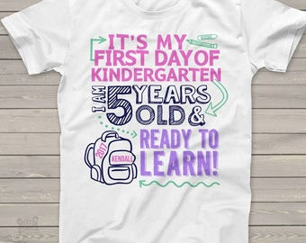 Kindergarten girl first day shirt - ready to learn kindergarten or any grade back to school Tshirt  MSCL-049-G