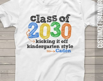 Back to school shirt - kindergarten shirt class of 2030 or any year colorful personalized school Tshirt  MSCL-050-b