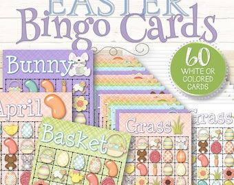 60 Easter Bingo Cards - INSTANT DOWNLOAD
