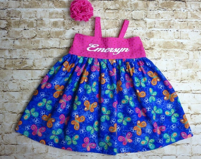 Birthday Outfit - 1st Birthday - Baby Girl Dress - Toddler Clothes - Personalized Dress  - Butterflies - Little Girl Dress - 6 mo to 8 yrs