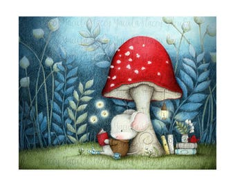 "art print -woodland- mouse - books - garden -reading - red mushroom  -  ""Lost at Sunset"""