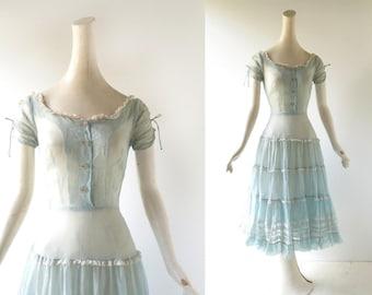 1950s Blue Dress | Alpine Maiden | 50s Dress | XXXS XXS
