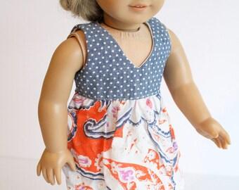 American Girl Doll Clothing, doll dress, AG Doll dress, 18inch doll ,  blue doll dress, paisley doll dress, AG Summer Doll Dress,