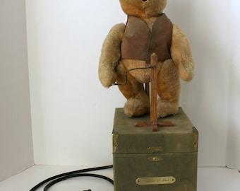 Hermann Teddy Bear, Vintage Pustefix Bubble Blowing Automaton Advertising Display