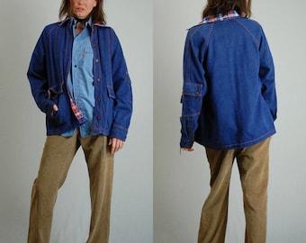 Vintage 70s Denim + Plaid American Slouchy Utilitarian Camp Jacket (s m)