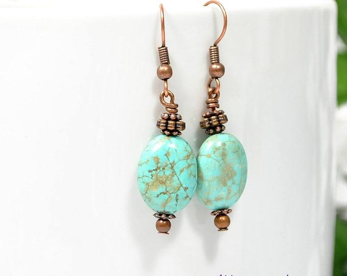 Earrings Small Dangle Blue Earring Bohemian Earrings Blue Copper Earrings Boho Jewelry Handmade Earrings Leverback