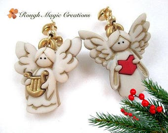 Angel Earrings, Christmas Jewelry, Musical Theme Earrings, Red & White Holiday Colors, Gold Post Stud Earrings, Cute Gift for Her