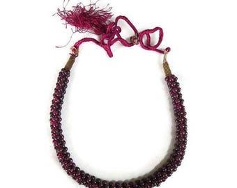 Braided Garnet Bead Necklace Vintage