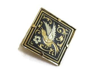 Damascene Swallow Bird & Flower Brooch Vintage