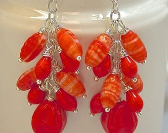 Vintage Japanese RED ORANGE Glass Bead Cluster Dangle Earrings, Vintage German Red Glass Beads,Silver Chain, Bali Sterling Silver Ear Wires