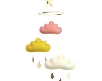 Coral and gold nursery mobile,baby mobiles hanging,baby girl nursery decor,cloud mobile,star mobile.peach nursery.coral nursery.gold nursery