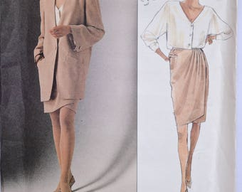 Donna Karan New York Vogue 2512 Sewing Pattern 1990s Loose-Fitting Jacket Button Front Top Wrap Skirt UNCUT Factory Folds Sizes 8-10-12