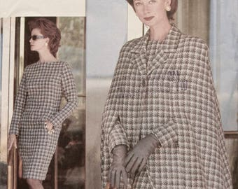 Vogue 9329 Sewing Pattern Vintage 1990s Misses' Flared Cape Tapered Slim Long Sleeve Dress The Vogue Woman Partially Cut Sizes 20-22-24