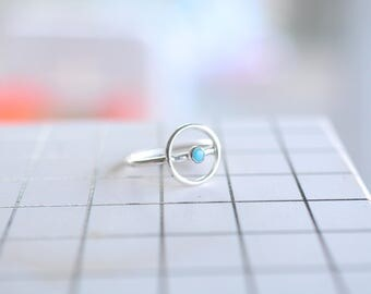 Halo Ring, turquoise, brass, gold, thin, dainty, delicate, brass, sterling silver