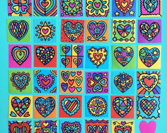 Mini Happy Heart Tiles (Artsyville Colors)