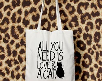 All You Need Is Love and A Cat - Canvas Tote bag