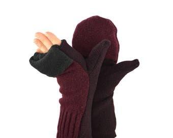 Convertible Flip Top Mittens in Burgundy Wine - Recycled Wool - Fleece Lined