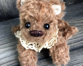 "Teeny tiny miniature 6"" artist teddy bear floppy plush brown fuzz"