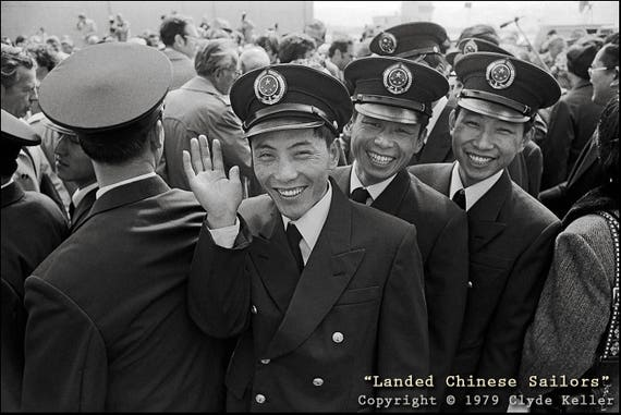 Seattle, LANDED CHINESE SAILORS, Pier 86, Clyde Keller photo, 1979