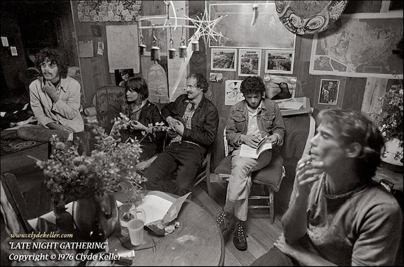 LATE NIGHT GATHERING, Kesey Poetical Hoo-Haw, Clyde Keller photo, 1976