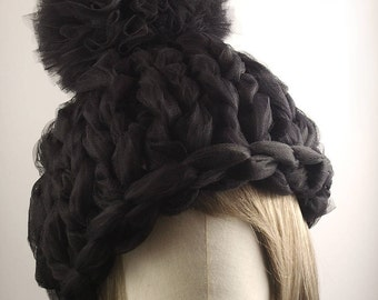 Chunky Hand-Knitted Tulle Pompon Beanie