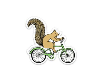 Squirrel riding a bicycle sticker