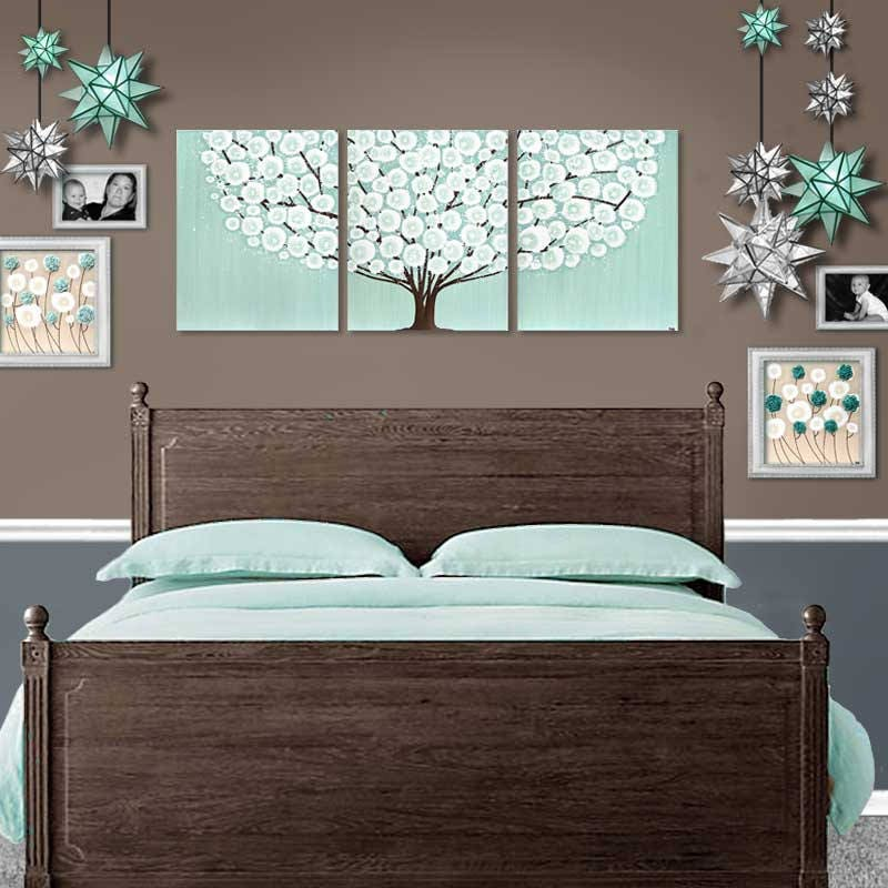 bedroom wall art painting on extra large canvas triptych of