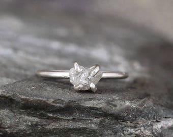 Raw Diamond Ring - 1 Carat Uncut Diamond Engagement Ring - Sterling Silver Shiny Polished Band - Rough Diamond Ring - April Birthstone Ring