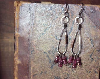 Briarberry. Rustic Hand-forged Mixed Metal and Golden Raspberry Czech Glass Drop Earrings.