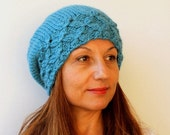 Clothing Gift. Turquoise Pom pom Knit Hat  Beret Chunky Slouchy  Pompom  Beret  Baggy   Beanie