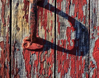 Rustic Wall Decor, Barn Door Photo, Fine Art Photography, Farm Photograph, Country Life, Americana Print, Picture of Shadows, Red, Grey