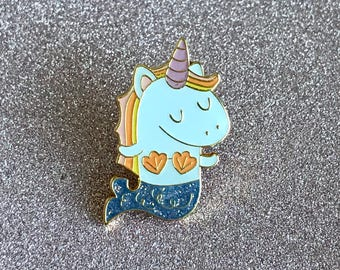 Mernicorn Unicorn Mermaid Purple Glitter Enamel Pin