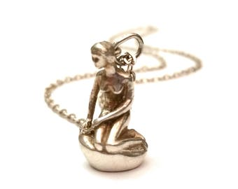 Denmark Sterling Mermaid Necklace, Bernhard Hertz Necklace, Sterling Silver Lady of the Harbor, Hans Christian Andersen Little Mermaid