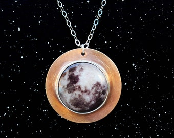 Solar Eclipse Necklace//Moon Jewelry//Science Gift Idea//Planet Necklace//Sterling Silver//Brass