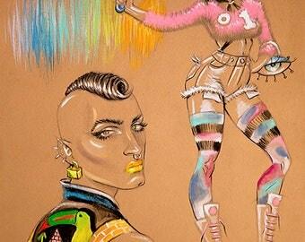 aurora, alpha flight, Jeanne-Marie Beaubier, heels, poster, X-Men, genderqueer, fashion illustration, croquis, nicki minaj, queer, bipolar